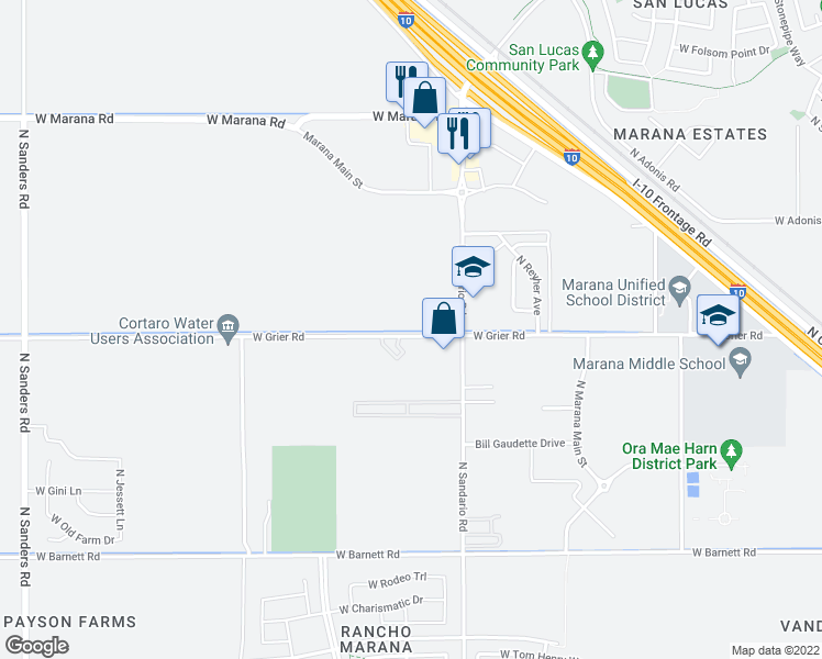 map of restaurants, bars, coffee shops, grocery stores, and more near 11900 West Grier Road in Marana