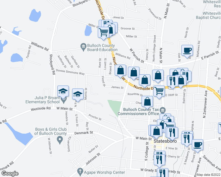 map of restaurants, bars, coffee shops, grocery stores, and more near James Street in Statesboro