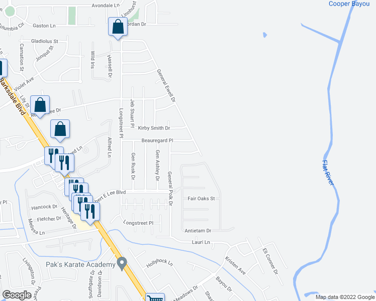 map of restaurants, bars, coffee shops, grocery stores, and more near 2213 Gen Taylor Place in Bossier City