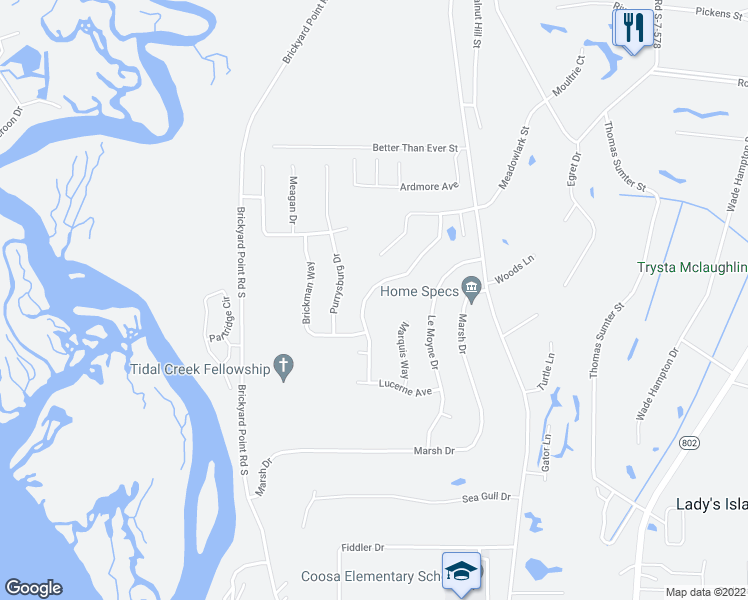 map of restaurants, bars, coffee shops, grocery stores, and more near 30 Telfair Drive in Beaufort