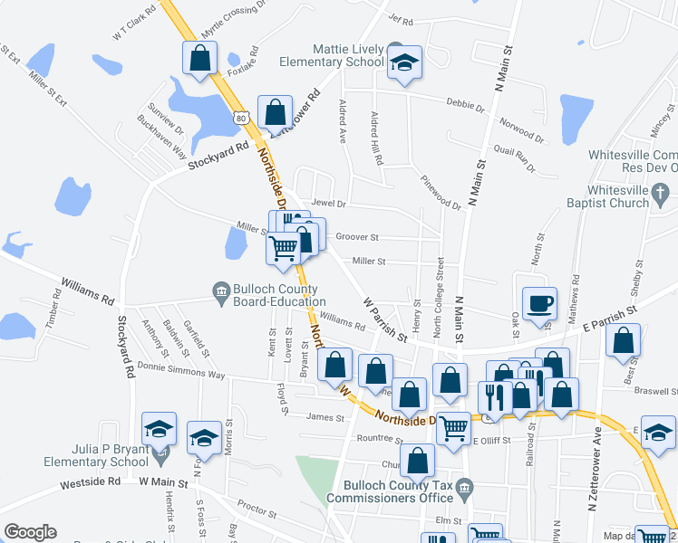map of restaurants, bars, coffee shops, grocery stores, and more near 413 West Parrish Street in Statesboro