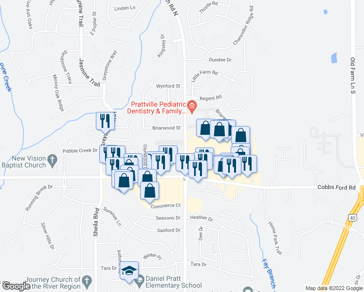 map of restaurants, bars, coffee shops, grocery stores, and more near 601 McQueen Village Road in Prattville