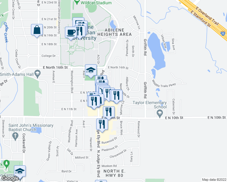 map of restaurants, bars, coffee shops, grocery stores, and more near 1302 Westheimer Road in Abilene