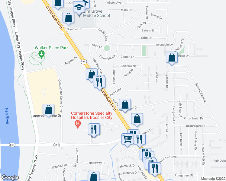map of restaurants, bars, coffee shops, grocery stores, and more near 1105 Violet Ave in Bossier City