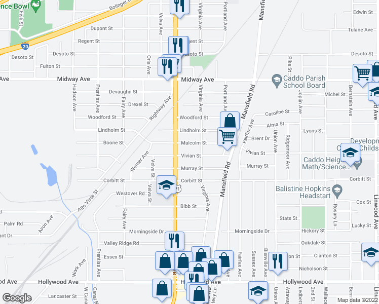 map of restaurants, bars, coffee shops, grocery stores, and more near 2628 Vivian Street in Shreveport
