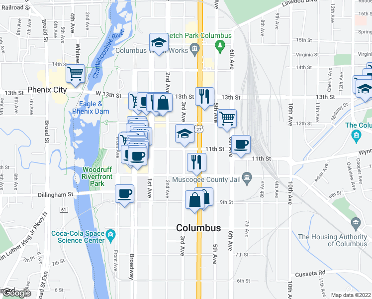 map of restaurants, bars, coffee shops, grocery stores, and more near 300 11th Street in Columbus