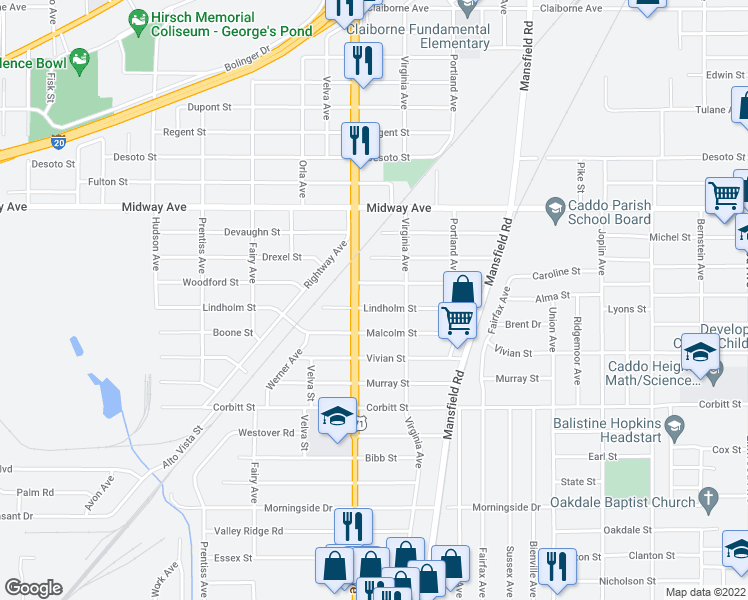 map of restaurants, bars, coffee shops, grocery stores, and more near 2636 Lindholm Street in Shreveport