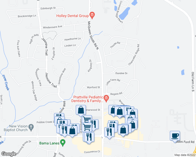 map of restaurants, bars, coffee shops, grocery stores, and more near 100 McQueen Smith Road South in Prattville
