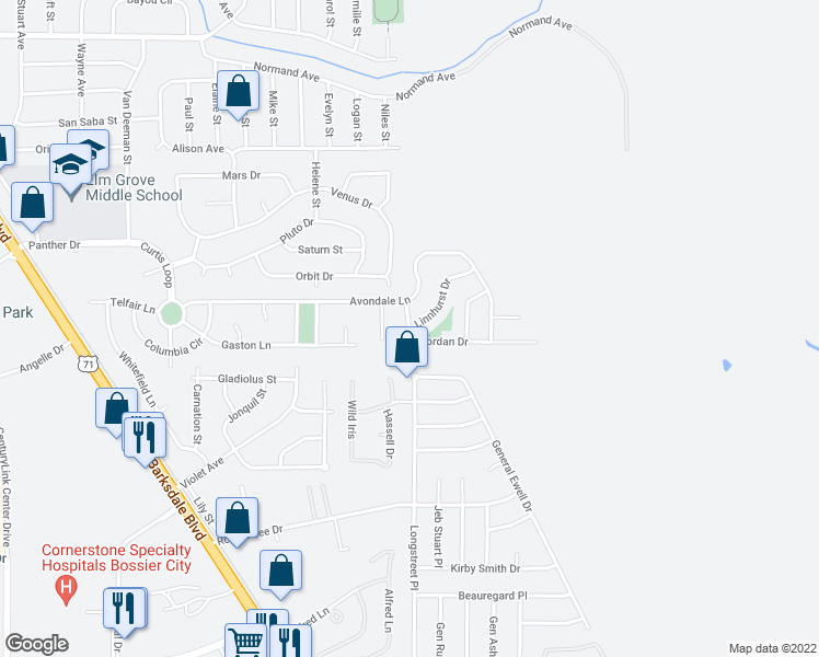 map of restaurants, bars, coffee shops, grocery stores, and more near 419 Jordan Drive in Bossier City