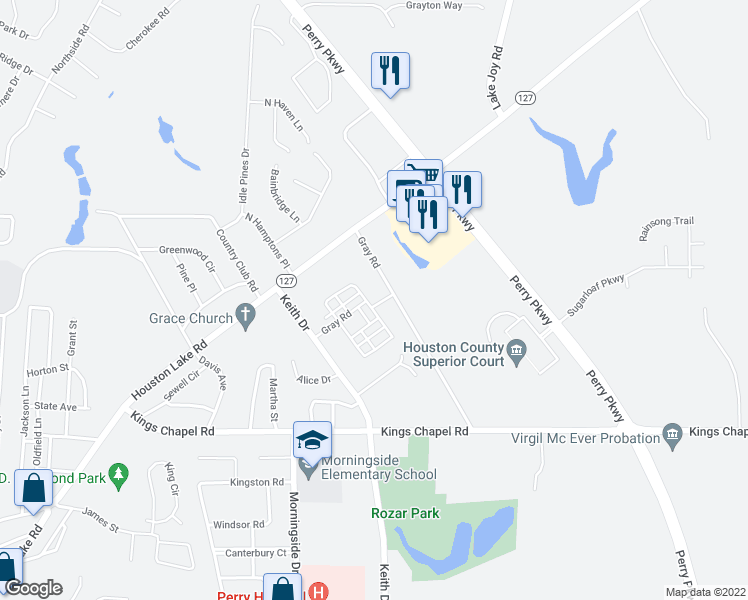 map of restaurants, bars, coffee shops, grocery stores, and more near 530 Gray Road in Perry