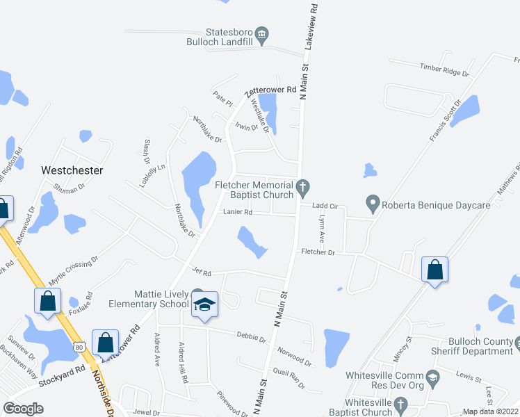 map of restaurants, bars, coffee shops, grocery stores, and more near 106 Lanier Road in Statesboro