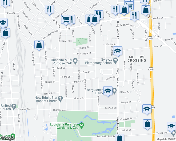 map of restaurants, bars, coffee shops, grocery stores, and more near 1605 Ford Street in Monroe