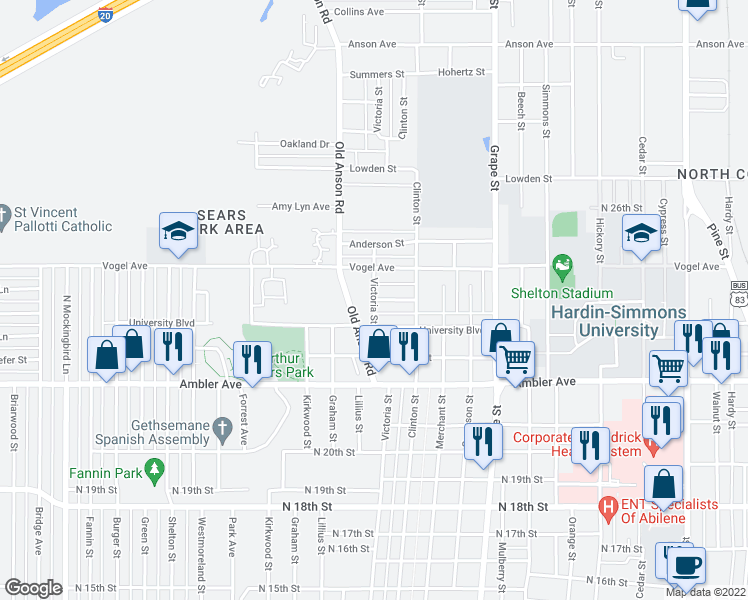 map of restaurants, bars, coffee shops, grocery stores, and more near Victoria Street in Abilene