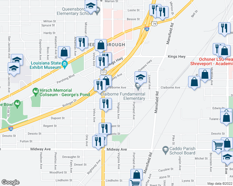 map of restaurants, bars, coffee shops, grocery stores, and more near 2606 Merwin Street in Shreveport