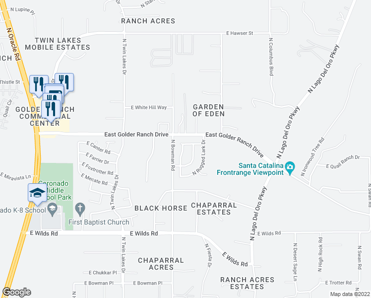 map of restaurants, bars, coffee shops, grocery stores, and more near 15138 North Holsteiner Road in Tucson
