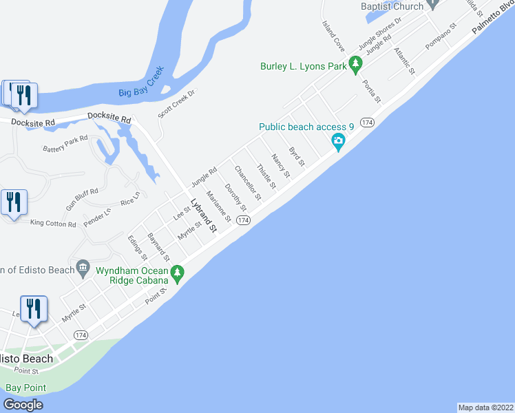 map of restaurants, bars, coffee shops, grocery stores, and more near 1401 Palmetto Boulevard in Edisto Island