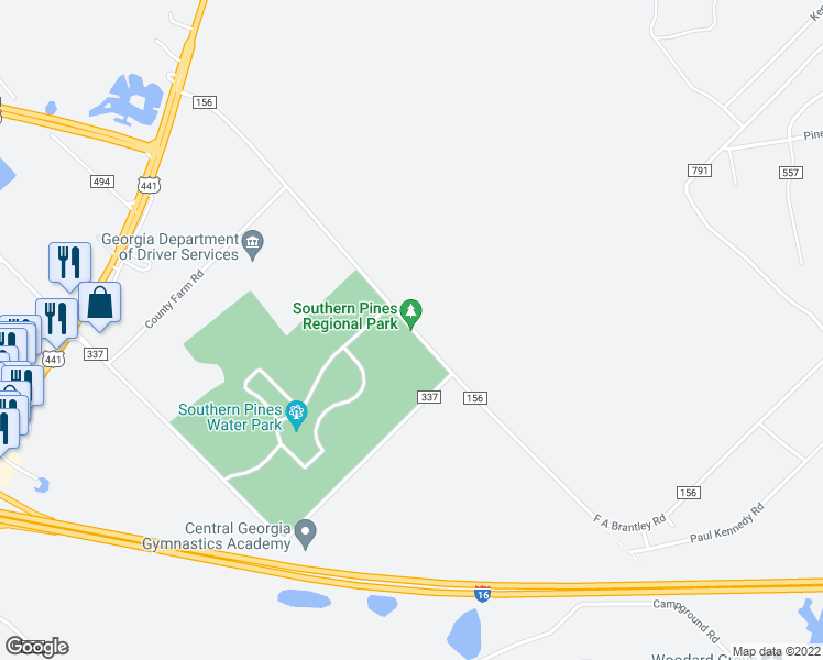 map of restaurants, bars, coffee shops, grocery stores, and more near 575 Southern Pines Road in Dublin