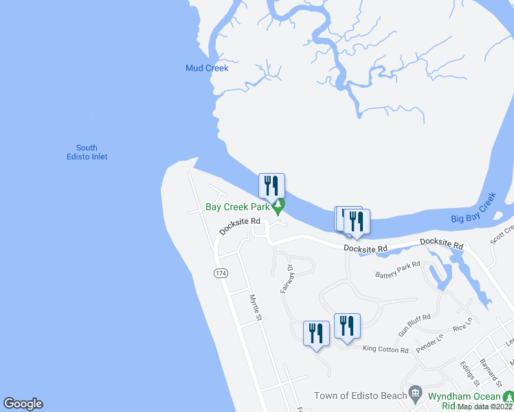 map of restaurants, bars, coffee shops, grocery stores, and more near 3701 Docksite Road in Edisto Island