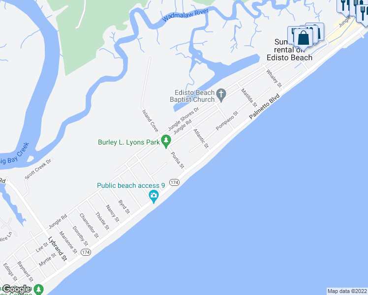map of restaurants, bars, coffee shops, grocery stores, and more near 613 Pompano Street in Edisto Island