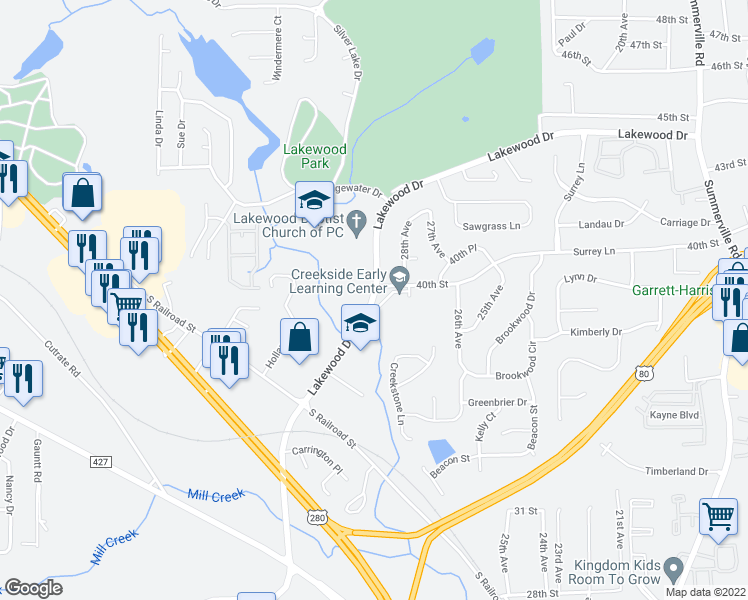 map of restaurants, bars, coffee shops, grocery stores, and more near 4002 Lakewood Drive in Phenix City
