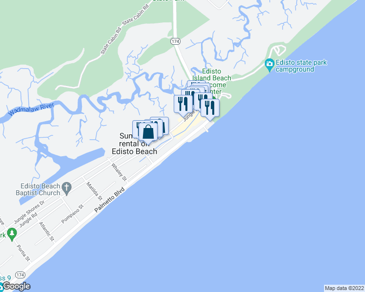 map of restaurants, bars, coffee shops, grocery stores, and more near 126 Palmetto Boulevard in Edisto Island