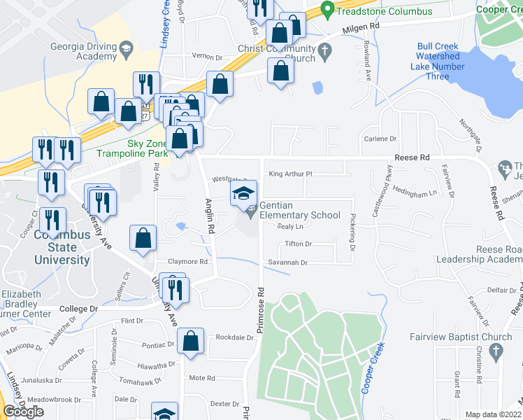 map of restaurants, bars, coffee shops, grocery stores, and more near 4006 Sealy Lane in Columbus