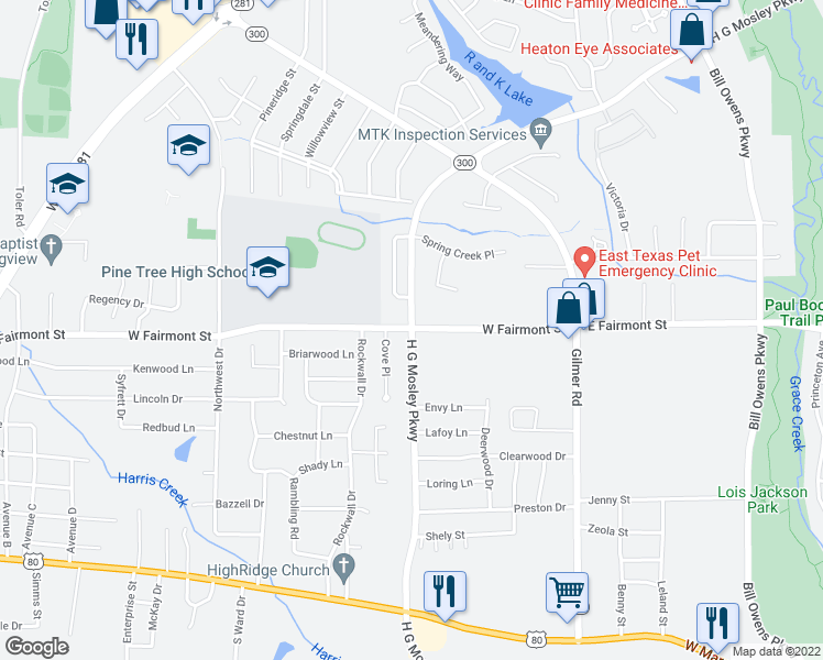 map of restaurants, bars, coffee shops, grocery stores, and more near 1400 H G Mosley Parkway in Longview