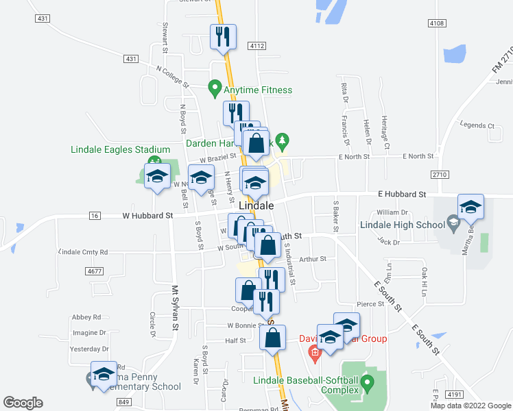 map of restaurants, bars, coffee shops, grocery stores, and more near in Lindale