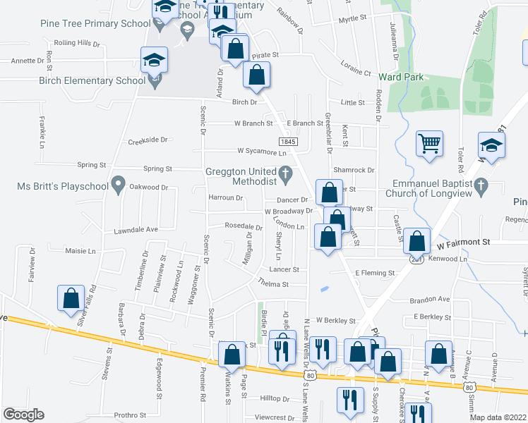 map of restaurants, bars, coffee shops, grocery stores, and more near West Broadway Drive in Longview