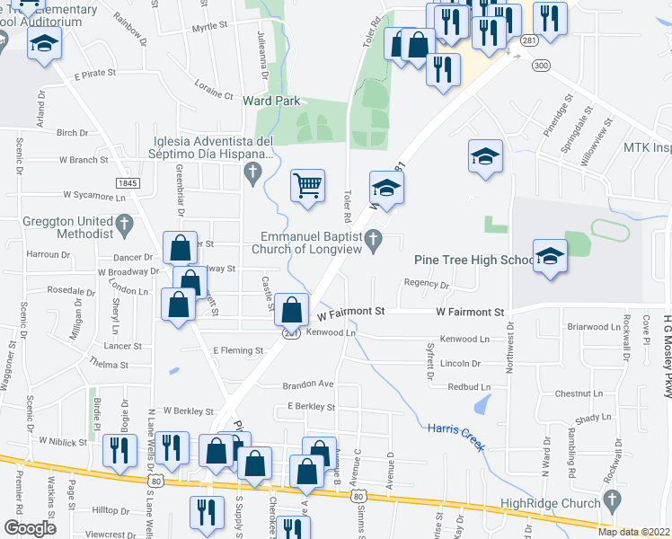 map of restaurants, bars, coffee shops, grocery stores, and more near Hwy 281 Loop & Toler Rd in Longview