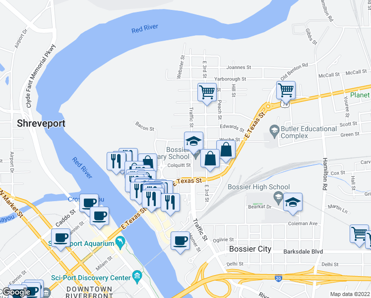 map of restaurants, bars, coffee shops, grocery stores, and more near 229 Adair Street in Bossier City