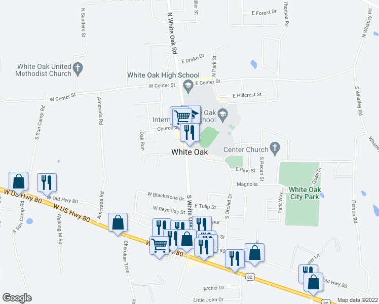 map of restaurants, bars, coffee shops, grocery stores, and more near in White Oak