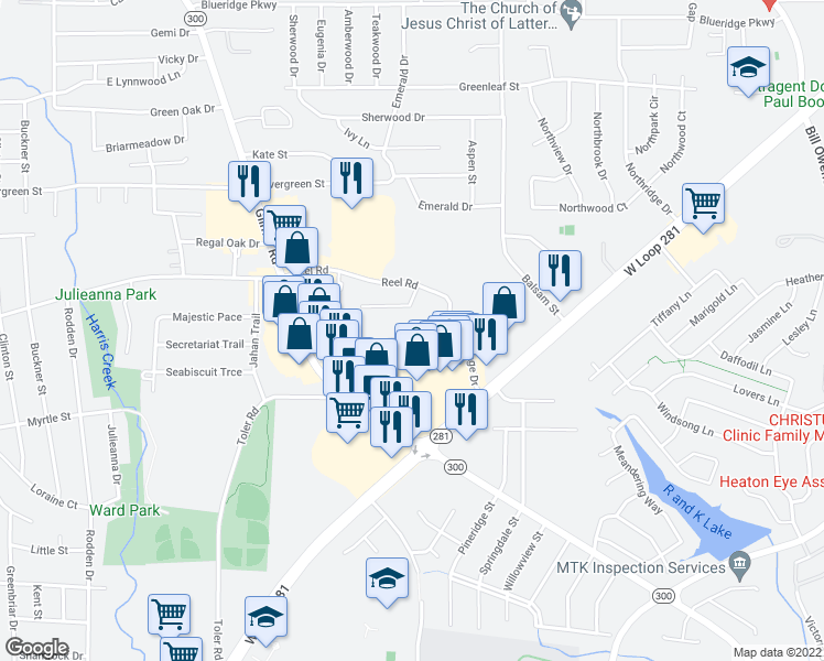 map of restaurants, bars, coffee shops, grocery stores, and more near 2019 Toler Road in Longview