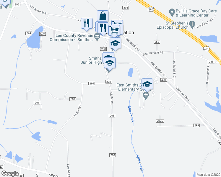map of restaurants, bars, coffee shops, grocery stores, and more near 622-748 County Road 298 in Smiths Station