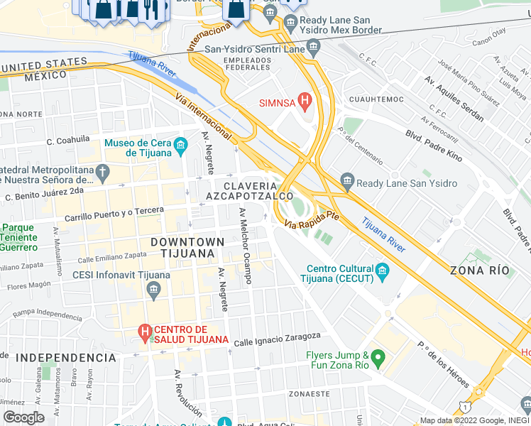 map of restaurants, bars, coffee shops, grocery stores, and more near 10291 Sánchez Taboada in Tijuana