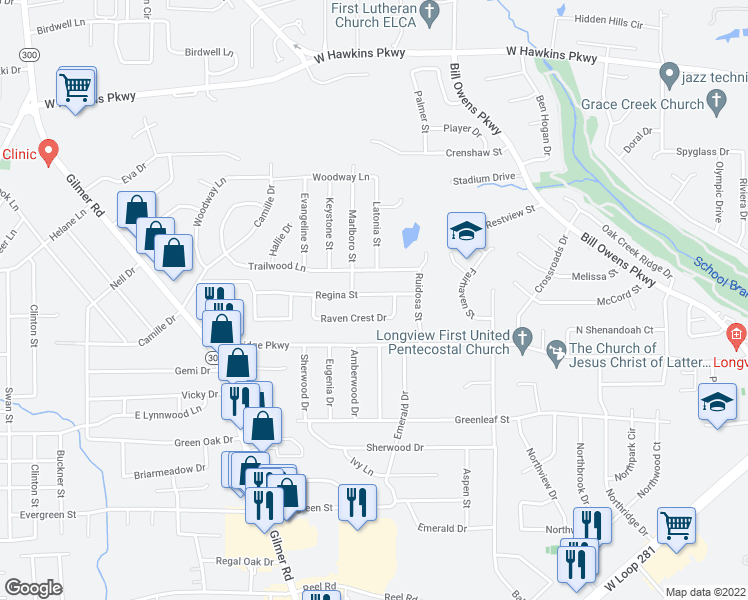 map of restaurants, bars, coffee shops, grocery stores, and more near 1306 Regina Street in Longview