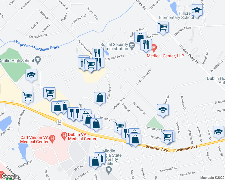 map of restaurants, bars, coffee shops, grocery stores, and more near 505 Pine Forest Street in Dublin
