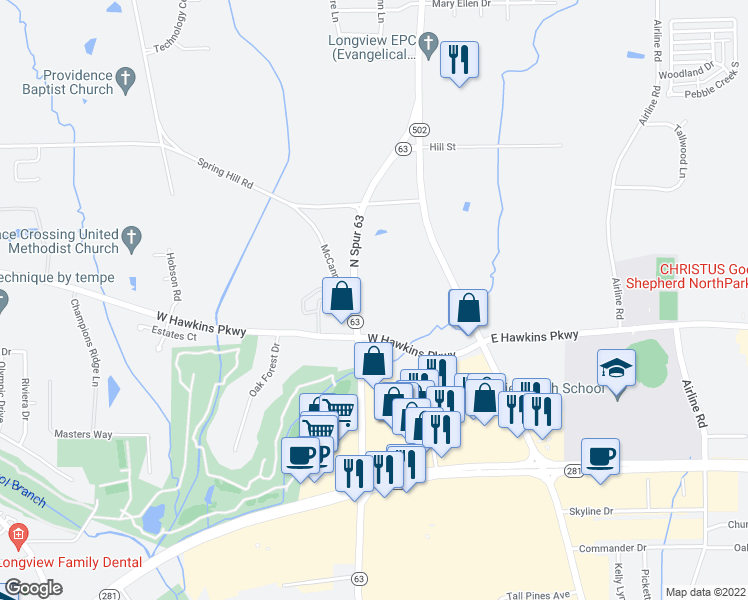 map of restaurants, bars, coffee shops, grocery stores, and more near 3700 McCann Road in Longview