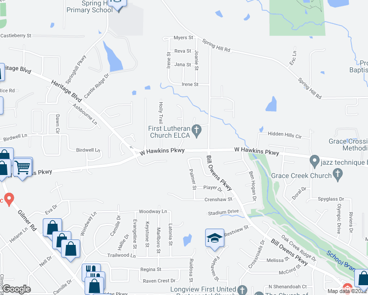 map of restaurants, bars, coffee shops, grocery stores, and more near 3800 Falls Creek Drive in Longview