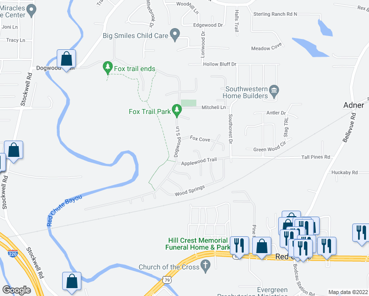 map of restaurants, bars, coffee shops, grocery stores, and more near 433 Dogwood South Lane in Haughton