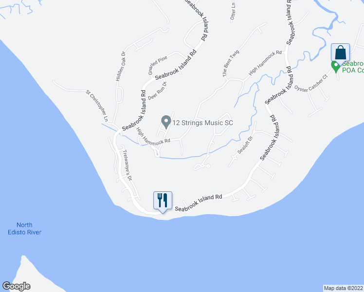 map of restaurants, bars, coffee shops, grocery stores, and more near 150 High Hammock Drive in Seabrook Island