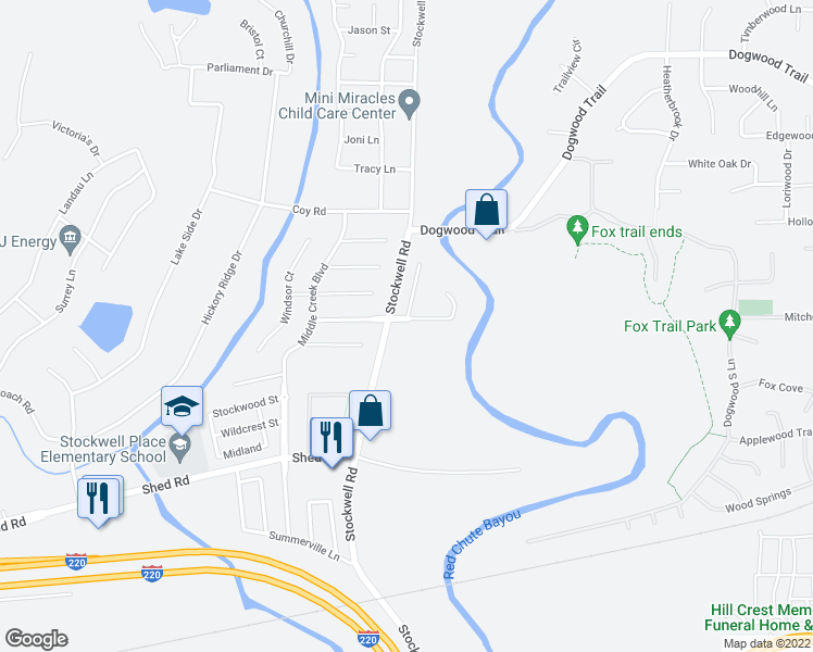 map of restaurants, bars, coffee shops, grocery stores, and more near 6004 Braeburn Court in Bossier City