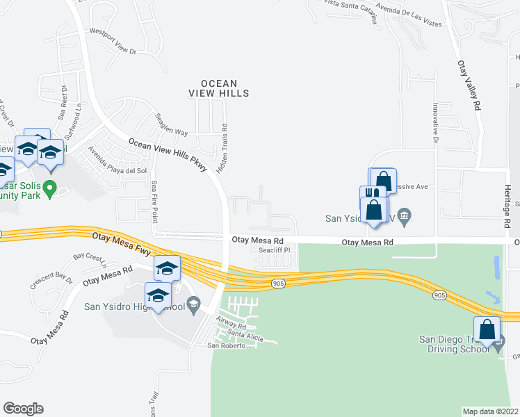 map of restaurants, bars, coffee shops, grocery stores, and more near 5540 Ocean Gate Lane in San Diego