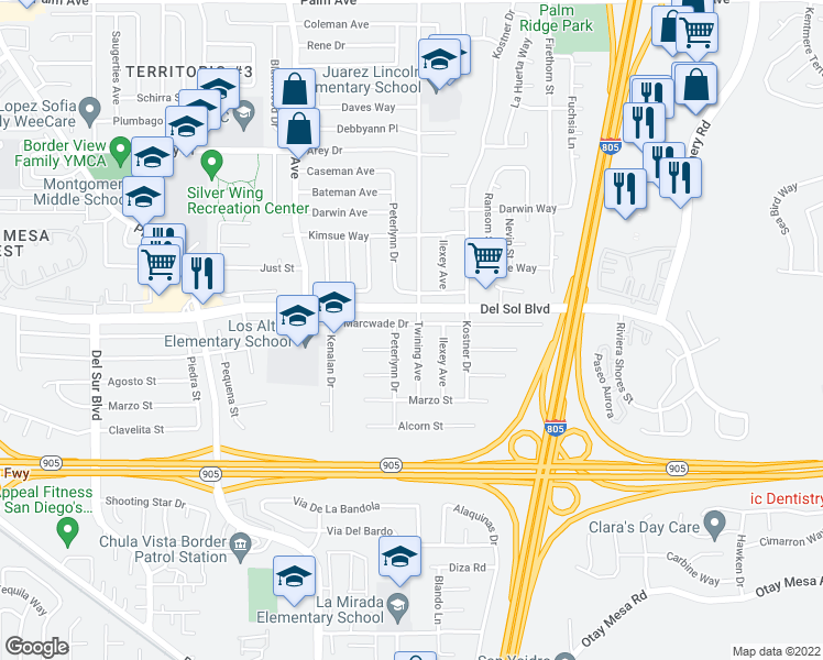 map of restaurants, bars, coffee shops, grocery stores, and more near 1306 Twining Avenue in San Diego