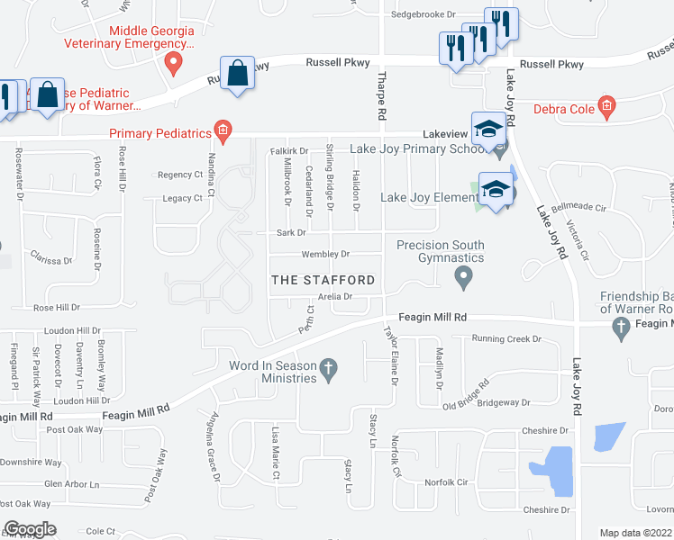 map of restaurants, bars, coffee shops, grocery stores, and more near 200 Witherspoon Court in Warner Robins