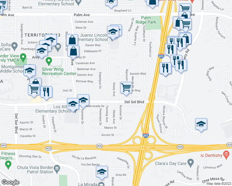 map of restaurants, bars, coffee shops, grocery stores, and more near 1229 Ilexey Avenue in San Diego