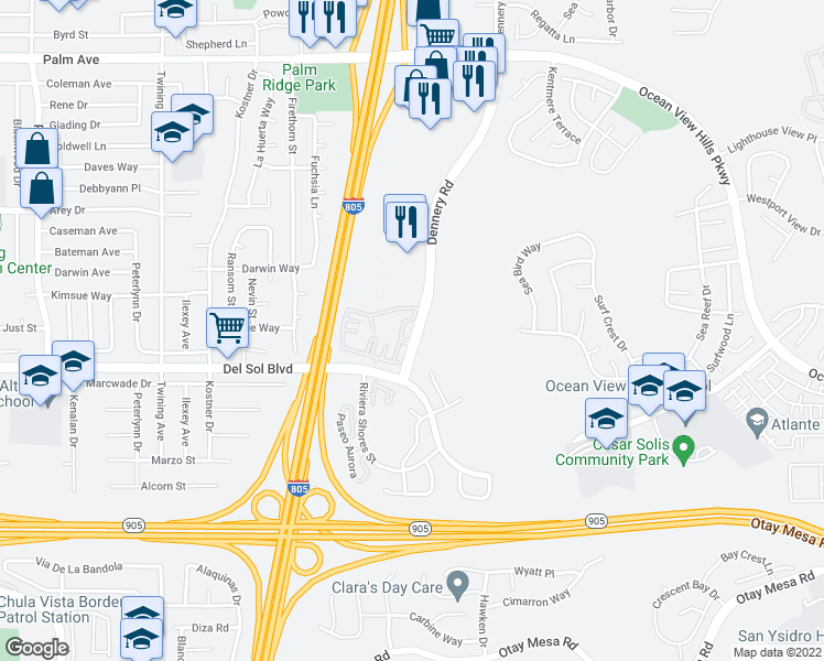 map of restaurants, bars, coffee shops, grocery stores, and more near 1100 Dennery Road in San Diego