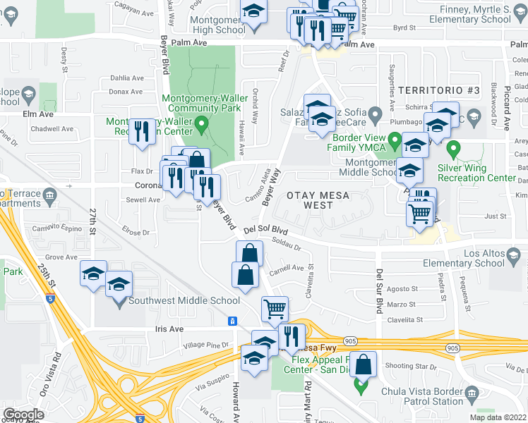 map of restaurants, bars, coffee shops, grocery stores, and more near Caminito Plaza View in San Diego