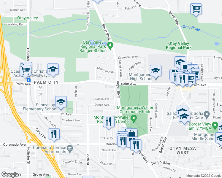 map of restaurants, bars, coffee shops, grocery stores, and more near 2885 Palm Avenue in San Diego