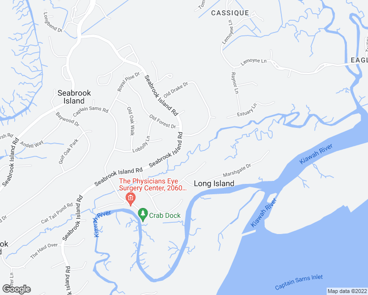 map of restaurants, bars, coffee shops, grocery stores, and more near 2942 Seabrook Island Road in Johns Island